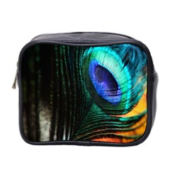 Green And Blue Peacock Feather Mini Toiletries Bag (two Sides)