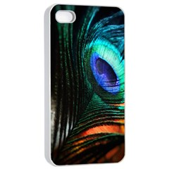 Green And Blue Peacock Feather Iphone 4/4s Seamless Case (white)