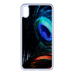 Green And Blue Peacock Feather Iphone Xs Max Seamless Case (white) by Pakrebo