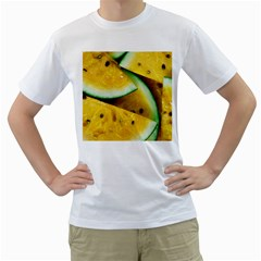 Sliced Watermelon Lot Men s T Shirt (white) (two Sided)