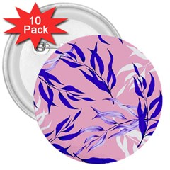 Floral Boho Watercolor Pattern 3  Buttons (10 Pack)  by tarastyle