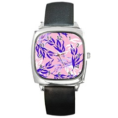 Floral Boho Watercolor Pattern Square Metal Watch by tarastyle