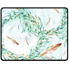 Floral Boho Watercolor Pattern Fleece Blanket (medium)  by tarastyle