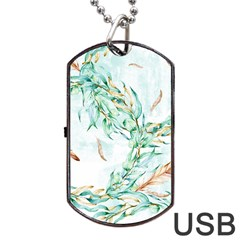 Floral Boho Watercolor Pattern Dog Tag Usb Flash (two Sides) by tarastyle