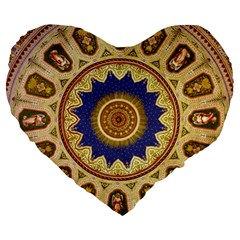 Red And White Angels Printed On Green Red And Purple Round Rug Large 19  Premium Flano Heart Shape Cushions