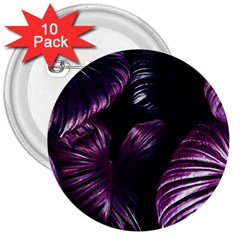 Purple Leaves 3  Buttons (10 Pack)