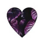 Purple Leaves Heart Magnet Front