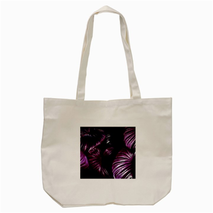 Purple Leaves Tote Bag (Cream)