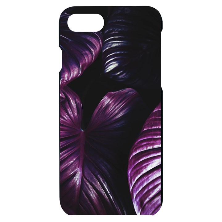 Purple Leaves iPhone 7/8 Black UV Print Case