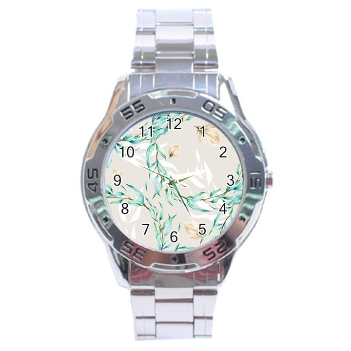 Floral Boho Watercolor Pattern Stainless Steel Analogue Watch