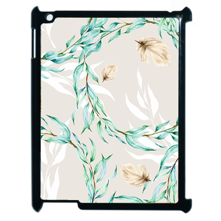 Floral Boho Watercolor Pattern Apple iPad 2 Case (Black)