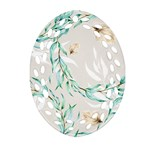 Floral Boho Watercolor Pattern Ornament (Oval Filigree) Front