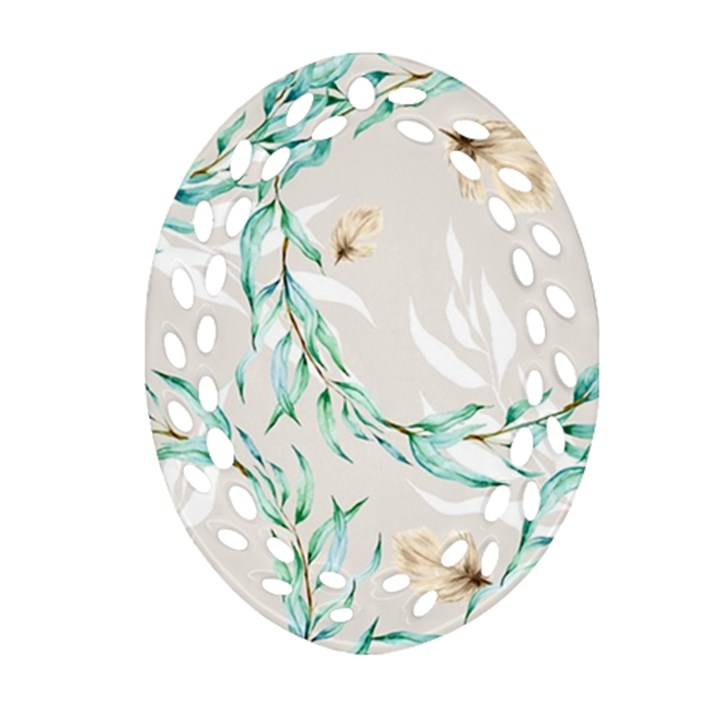 Floral Boho Watercolor Pattern Ornament (Oval Filigree)