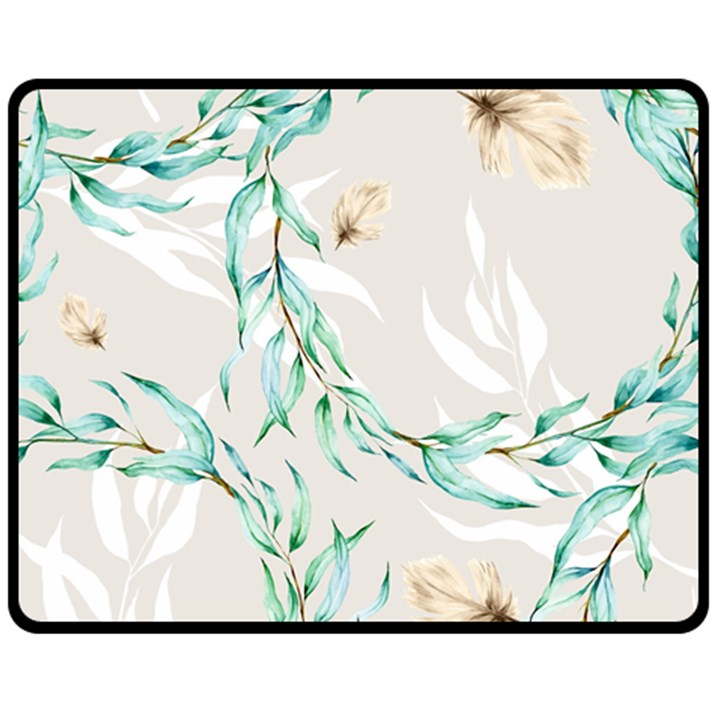 Floral Boho Watercolor Pattern Double Sided Fleece Blanket (Medium)
