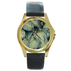Closeup Photo Of Green Variegated Leaf Plants Round Gold Metal Watch