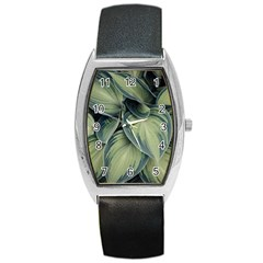 Closeup Photo Of Green Variegated Leaf Plants Barrel Style Metal Watch