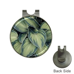 Closeup Photo Of Green Variegated Leaf Plants Hat Clips With Golf Markers by Pakrebo