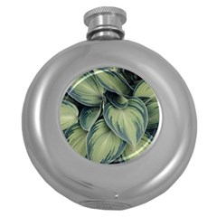 Closeup Photo Of Green Variegated Leaf Plants Round Hip Flask (5 Oz) by Pakrebo
