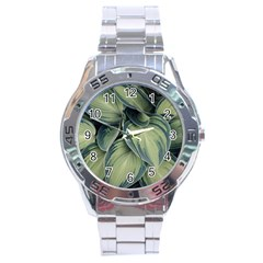 Closeup Photo Of Green Variegated Leaf Plants Stainless Steel Analogue Watch by Pakrebo