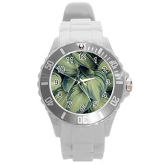 Closeup Photo Of Green Variegated Leaf Plants Round Plastic Sport Watch (l)