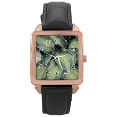 Closeup Photo Of Green Variegated Leaf Plants Rose Gold Leather Watch  by Pakrebo