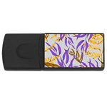 Floral Boho Watercolor Pattern Rectangular USB Flash Drive Front