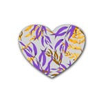 Floral Boho Watercolor Pattern Rubber Coaster (Heart)  Front