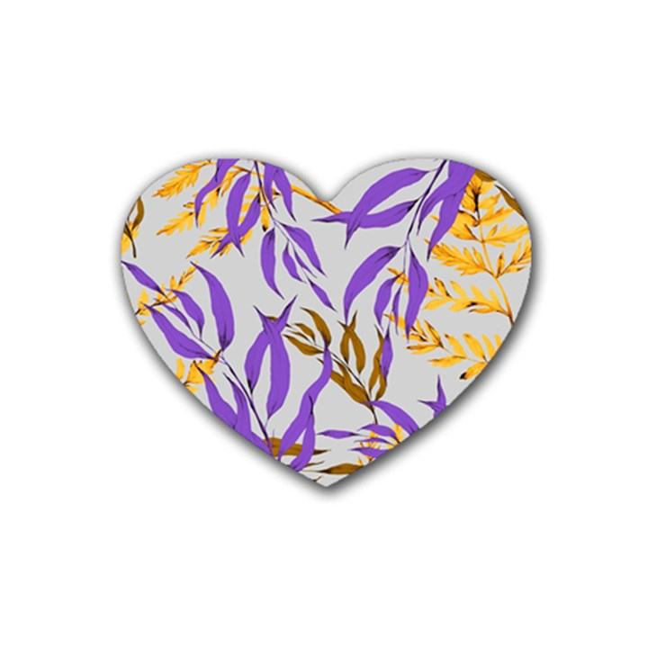 Floral Boho Watercolor Pattern Rubber Coaster (Heart)