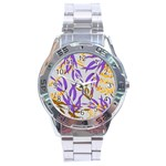 Floral Boho Watercolor Pattern Stainless Steel Analogue Watch Front