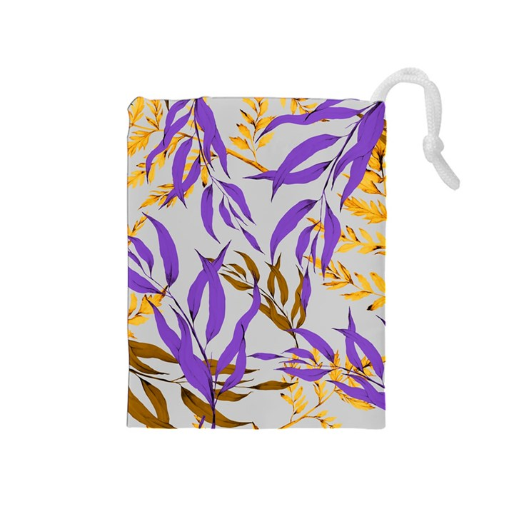 Floral Boho Watercolor Pattern Drawstring Pouch (Medium)