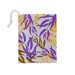 Floral Boho Watercolor Pattern Drawstring Pouch (Medium) Back