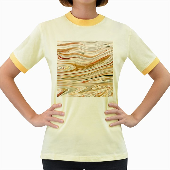 Brown And Yellow Abstract Painting Women s Fitted Ringer T-Shirt