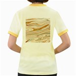 Brown And Yellow Abstract Painting Women s Fitted Ringer T-Shirt Back