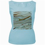 Brown And Yellow Abstract Painting Women s Baby Blue Tank Top Front