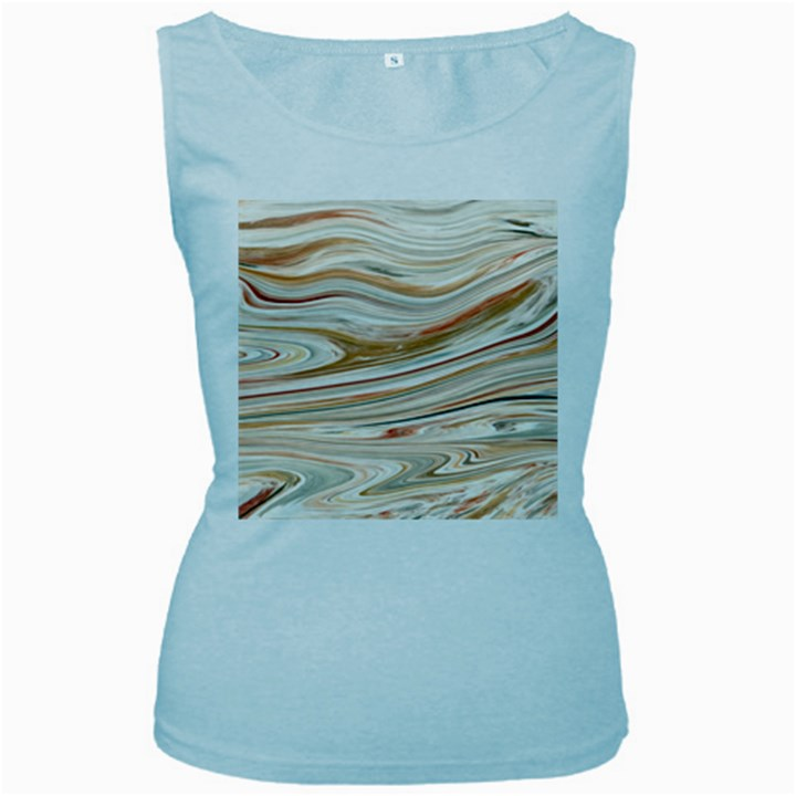 Brown And Yellow Abstract Painting Women s Baby Blue Tank Top