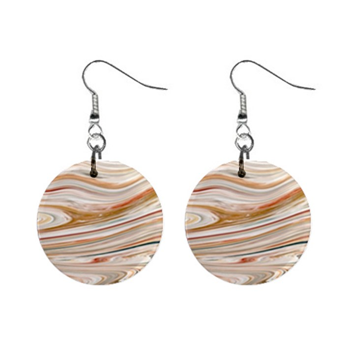 Brown And Yellow Abstract Painting Mini Button Earrings