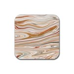 Brown And Yellow Abstract Painting Rubber Coaster (Square)  Front