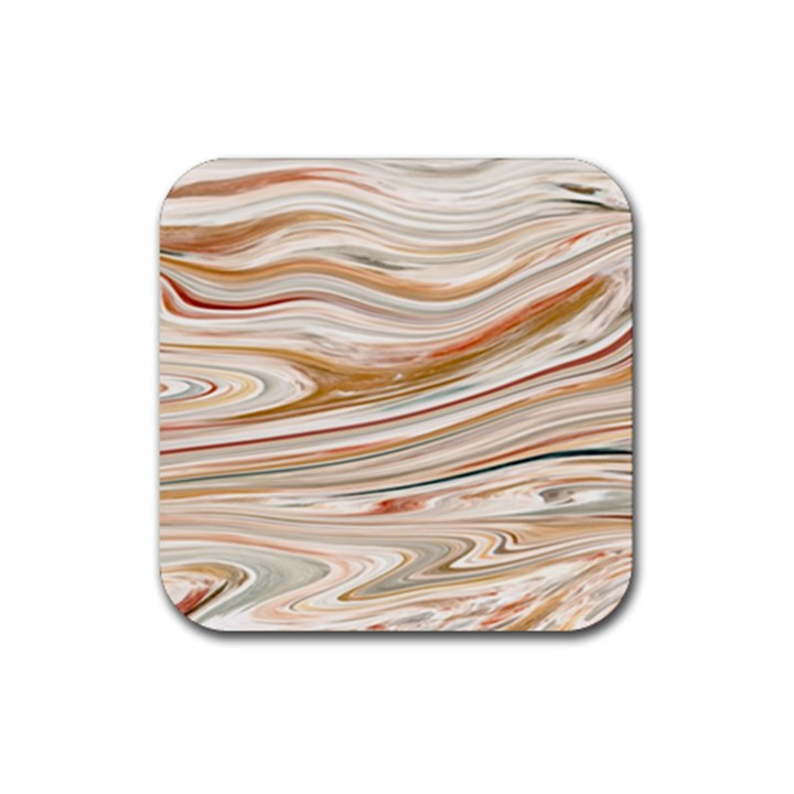 Brown And Yellow Abstract Painting Rubber Coaster (Square)