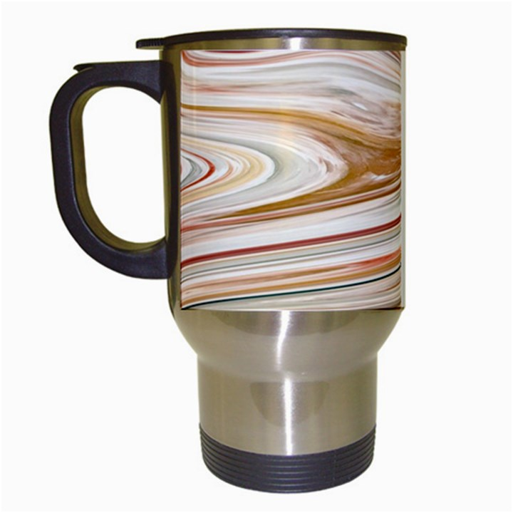 Brown And Yellow Abstract Painting Travel Mugs (White)