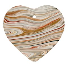 Brown And Yellow Abstract Painting Heart Ornament (two Sides)