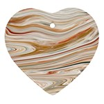 Brown And Yellow Abstract Painting Heart Ornament (Two Sides) Front