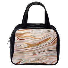 Brown And Yellow Abstract Painting Classic Handbag (one Side)