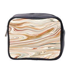 Brown And Yellow Abstract Painting Mini Toiletries Bag (two Sides) by Pakrebo