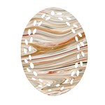 Brown And Yellow Abstract Painting Oval Filigree Ornament (Two Sides) Front