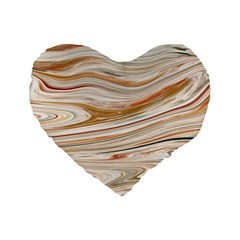 Brown And Yellow Abstract Painting Standard 16  Premium Heart Shape Cushions by Pakrebo