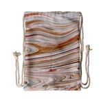 Brown And Yellow Abstract Painting Drawstring Bag (Small) Back