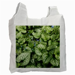 Green And White Leaf Plant Recycle Bag (one Side)