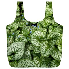 Green And White Leaf Plant Full Print Recycle Bag (xl)
