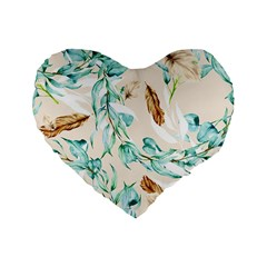 Floral Boho Watercolor Pattern Standard 16  Premium Heart Shape Cushions by tarastyle