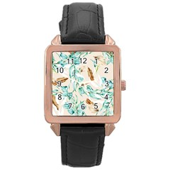 Floral Boho Watercolor Pattern Rose Gold Leather Watch  by tarastyle